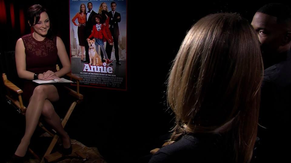 Стаси по време на интервюто с Камерън Диас и Джейми Фокс.