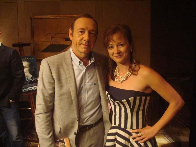 """С Кевин Спейси по време на """"най-великото интервю в живота й""""."""