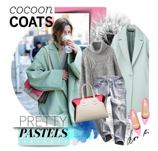 Ако се съди по последните ревюта на дизайнерите, модерното палто пашкул трябва да е в пастелни тонове. В случая е в актуалния цвят мента. Внимавайте с обувките – тези в розово не стоят добре при стила casual (всекидневен).