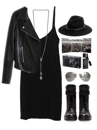 Харесва ли ви стилът хипи? Облечете черна рокля с яке и високи чепици с връзки.
