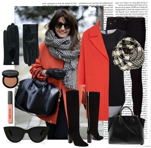 Ако палтото ви е в ярък, а не пастелен цвят (в случая – коралов), дрехите и аксесоарите е по-добре да са в черно и бяло.