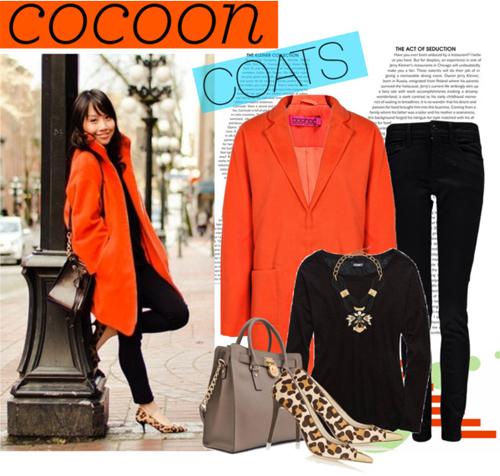 Ярко оранжевото палто пашкул стои най-добре върху черно. Аксесоарите може да са със смел леопардов принт.