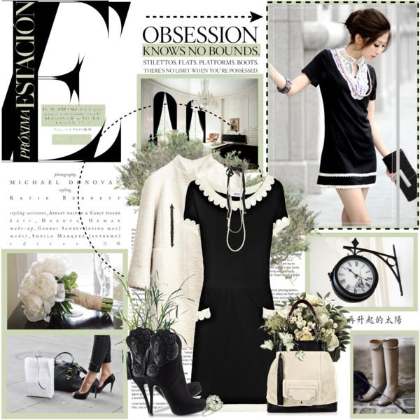 Малката черна рокля с бяла яка прекрасно се съчетава с палто в тон и елегантни боти на висок ток.