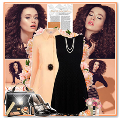 С палто в бежово или карамелено също може да облечете вашата любима черна рокля. Не забравяйте перлите.