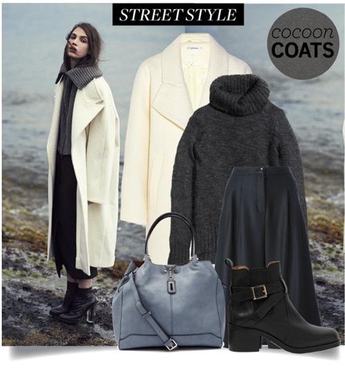 Oversized палто пашкул в млечнобяло – стилът casual (всекидневен) в случая е много шик.