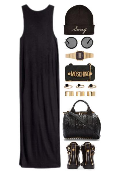 А защо да не облечете дълга черна рокля, подобна на тази, с която се снима Одри Хепбърн, но с едри украшения и чепици в стил casual?