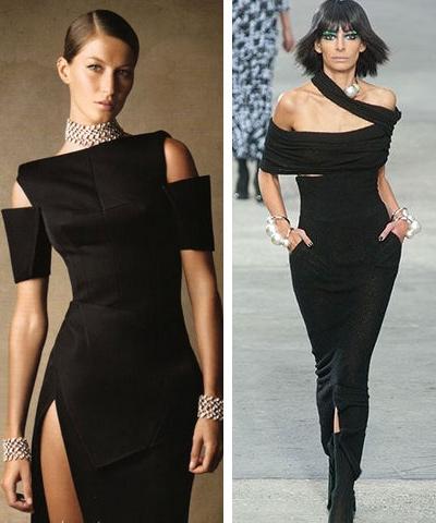 На сн. вдясно - малка черна рокля на Chanel с украшения от перли.