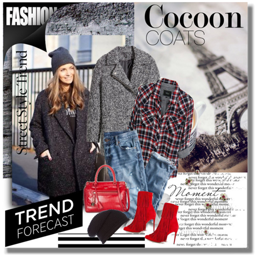 Ако сте свикнали да комбинирате винаги модерното oversized палто пашкул в миши цвят с елегантни боти на висок ток и чантичка, ето как може да стои то и с плетена шапка.