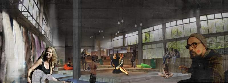 """Проект """"Споделени софийски пространства"""". Залата на топлофикацията на НДК, колаж на Теодора Стефанова."""
