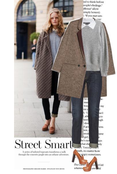 Street style (уличен стил) с oversized палто от туид в кафяви тонове. Ако сте ниски, не слагайте широки, а тесни панталони.