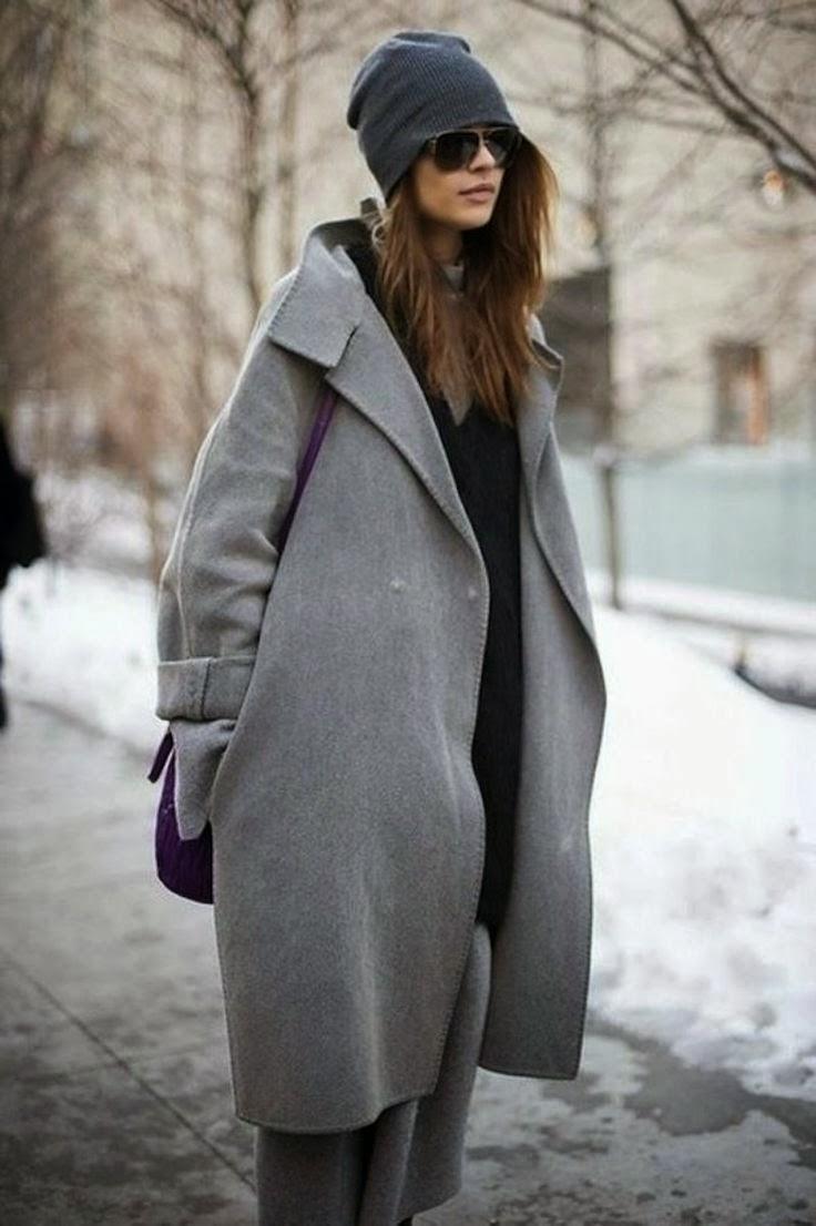 Street style (уличен стил) с oversized палто пашкул в сиво.