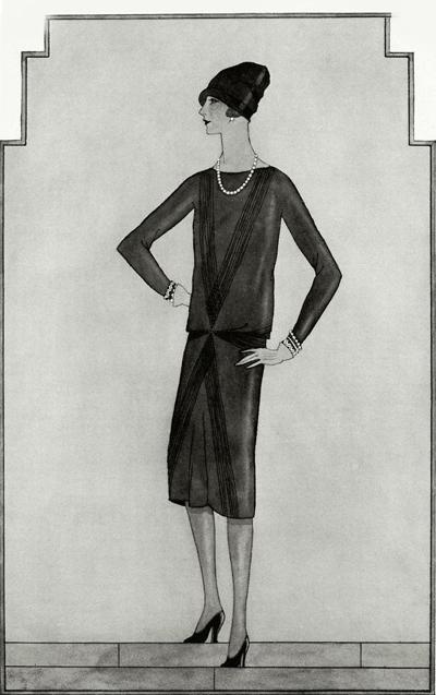 Първата скица на малка черна рокля на Коко Шанел, 1926 г.