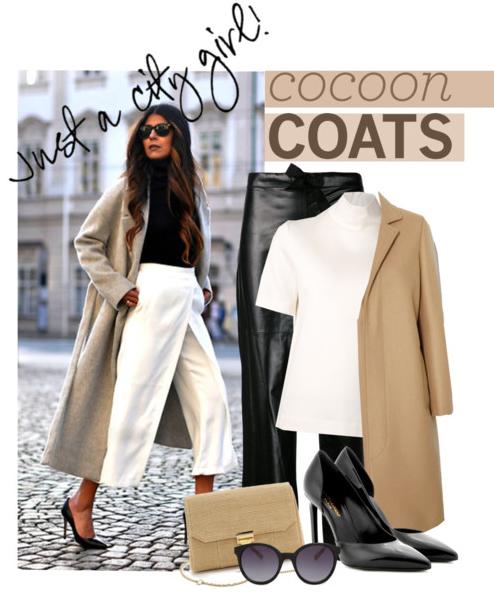 Широката бяла пола-панталон на снимката вляво не стои добре под палто пашкул. По-добрият вариант е черни кожени панталони скини (плътно по тялото) и бяла блуза с поло на снимката вдясно.