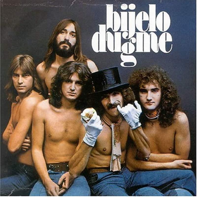 """Плакат на група """"Биело дугме"""" от ранните им години, с цилиндъра е Горан Брегович."""