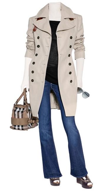 Идеалният всекидневен тоалет – тренчкот или палто до средата на бедрото, леко клоширани джинси.
