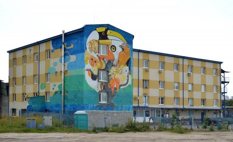 """Проект HROME-TIKA върху сградата на социалния център """"Конкордия"""" в столицата, съвместно с графити райтъра HROME и германски стрийт артисти."""