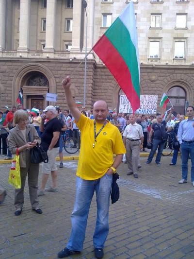 Христо Радков на протестите миналото лято.