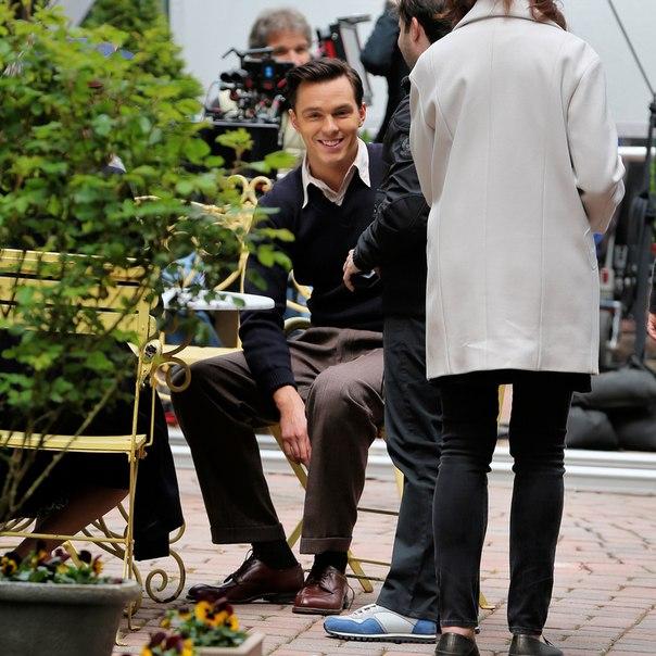 """Никълъс Холт като Джеръм Селинджър на снимачната площадка на """"Бунтарят в ръжта"""", 27 април 2016. Сн. ВКонтакте."""