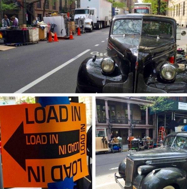 Стари коли и телефони от миналия век – снимачната площадка на филма по улиците на Ню Йорк.