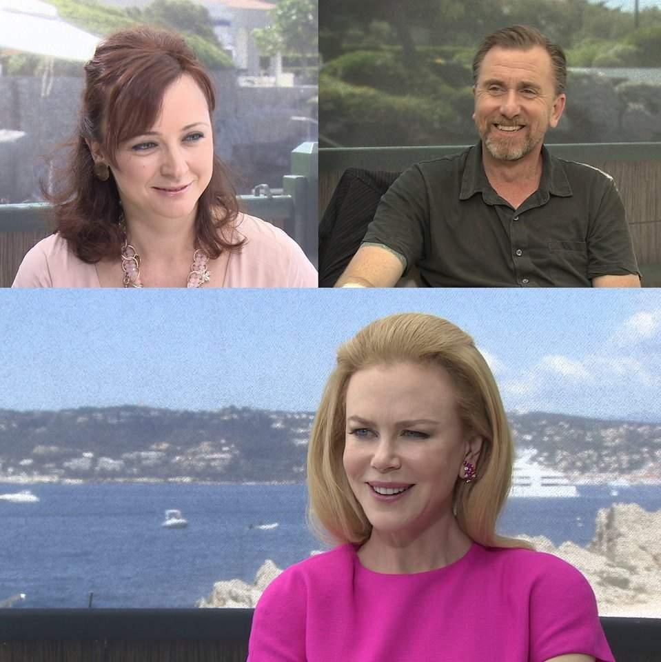 """Стаси Кара (горе вдясно) по време на интервюто с Никол Кидман (долу) и режисьора на филма """"Принцесата на Монако"""" Оливър Дахан."""