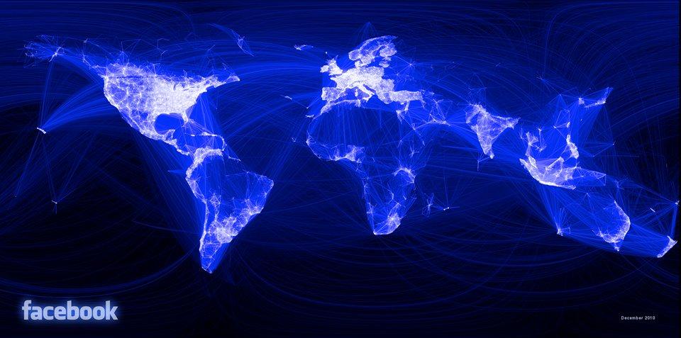 Карта на разпространението на фейсбук. Сн. Facebook=