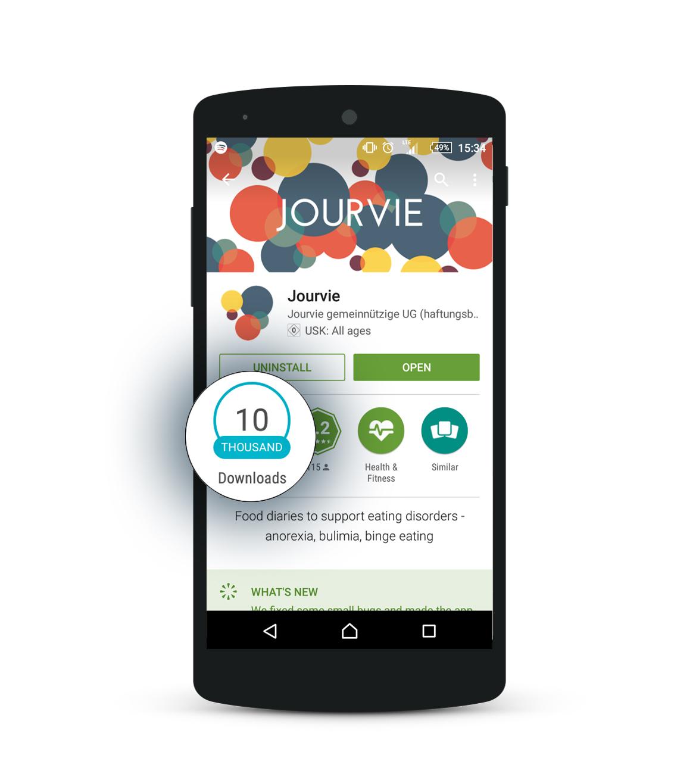 Още през март създателите на Jourvie отбелязаха 10 хиляди изтегляния само за няколко месеца от публикуването на приложението.