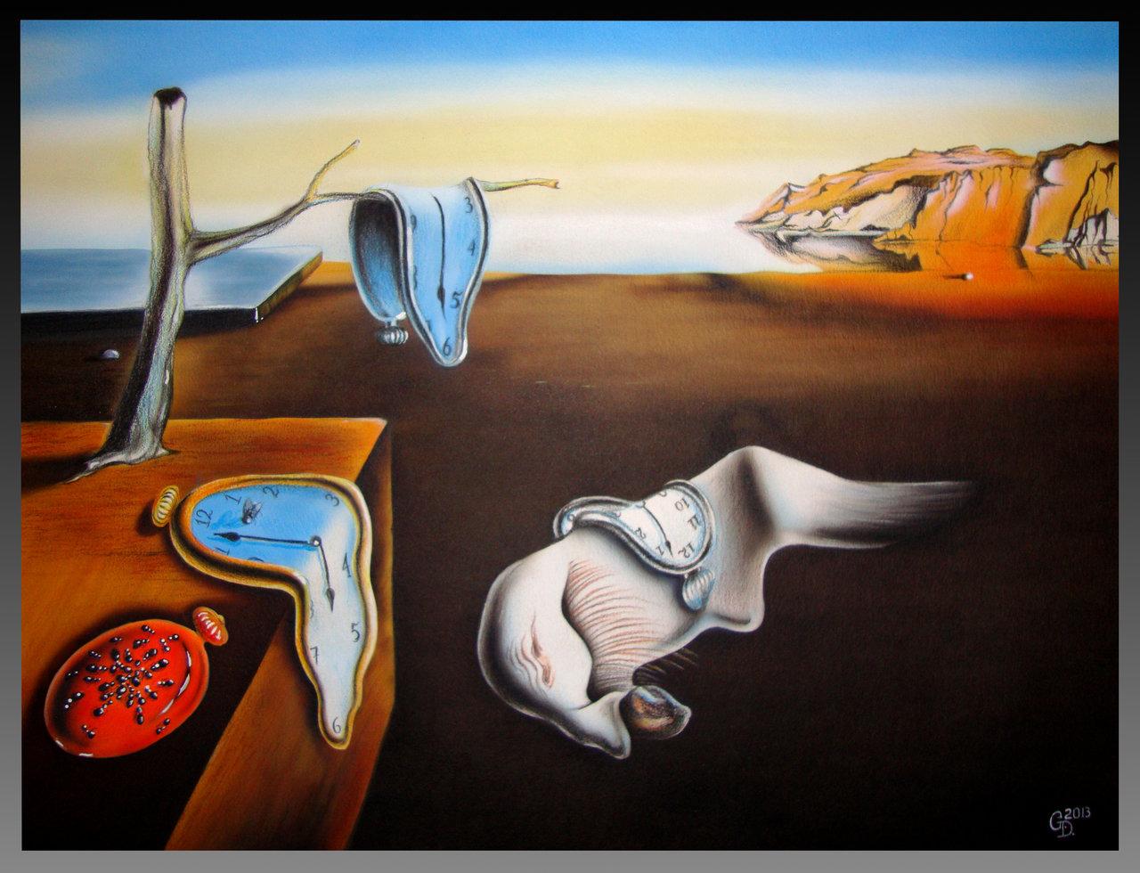 """""""Постоянство на паметта"""" - една от най-известните картини на Салвадор Дали с прословутите меки огънати часовници."""